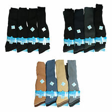 New Mens 6prs Long Hose Ribbed Plain Cotton Socks Long Knee High 3 Colours 6-11