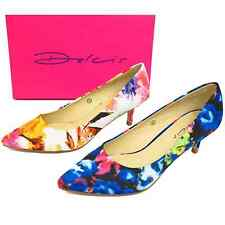 LADIES DOLCIS PINK OR BLUE LOW KITTEN HEEL SLIP-ON COURT POINTY SHOES WORK PUMPS