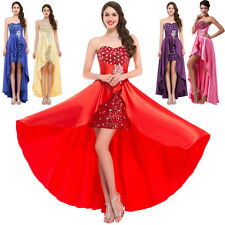 Stock High Low Long Formal Bridesmaids Dress Prom Evening Party Gown Size 2-16