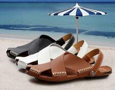 Mens Leather Casual Slipper Beach Sandals slides Back Strap Shoes Flats summer
