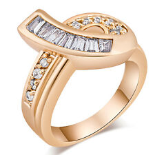 Korean Jewelry 18K Rose Gold Filled Clear CZ Fashion Knot Band Ring Size 6 7 8