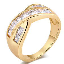 Korean Jewelry 18K Gold Filled CZ Womens Infinite Band Ring Size 6 7 8 9 Gift
