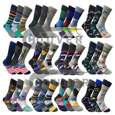 Men's Funny Colorful Novelty Crew Casual Patterned Socks 3 Pair Bundle
