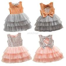Baby Girl Kids Sequins Bowknot Party Wedding Dress Tulle Tutu Dancing Dress 1-6Y