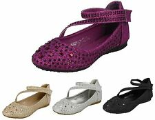 Girls Spot On Y Strap Childrens Sparkly Glitter Diamante Sandal Prom Party Shoes