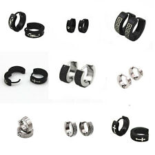 1 Pair Gothic Mens Women Stainless Steel Hoop Huggies Ear Stud Earrings Jewelry