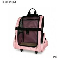 Multifunction Pet Carrier Dog Cat Travel Backpack Wheeled Rolling Portable Pink