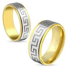 316L Stainless Steel Men's Greek Key Center Gold Band Ring All Sizes Size 9 Ring