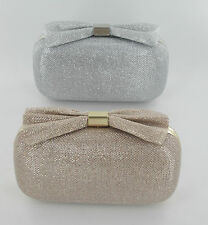 Ladies Ella Glitter Clutch Bag Gold/Silver With Bow Detail 73069/73070