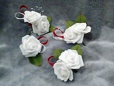 Wedding White/Red Rose Pearl Single and Double Buttonholes. Multiple Designs