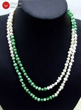 "Natural White and Green 6-7mm Baroque freshwater pearl Long 40"" necklace-nec6110"