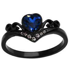 Black Sterling Silver heart Cut Blue Created-Sapphire Women's Anniversary Ring