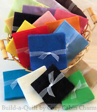 "24 ~ 5"" Solid FLANNEL Precut Fabric Quilt Squares *24 Color Choices* FREE SHIP"
