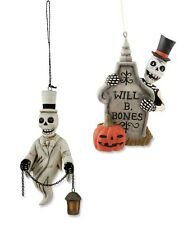 Christmas SKELETON ORNAMENTS w Tombstone - Greg Guedel for Bethany Lowe GG2083