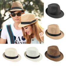 Unisex Fedora Trilby Hat Cap Straw Panama Style Packable Travel Sun Hat KG