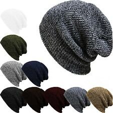 beanie hat Mens Ladies Knitted Wooly Winter Oversized Slouch Beanie Hat Cap pop