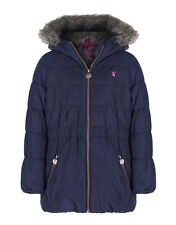 Joules Girls' Merrydale Padded Coat with Faux Fur Trim Hood - French Navy V_JNRM