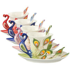 New Porcelain Handmade Peacock Coffee Tea Set 1 Cup 1 Saucer 1 Spoon 6 Color