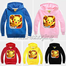 Pokemon Pikachu Kids Boys Girls Hoodies Hooded Pullover Sweatshirt Tops Outwear