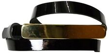 FRONHOFER Skinny patent leather belt with a long golden buckle, real leather