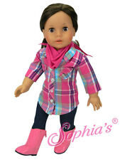 """Doll Clothes AG 18"""" Western Jeans Shirt Plaid Scarf Boots Fit American Girl Doll"""