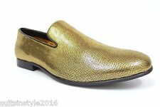Men's New Amali Collection Exotic Gold Shiny Slip On Dress Casual Loafer Shoes