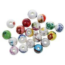20pcs Mixed Floral Ceramic Porcelain Loose Spacer Beads for Jewelry Making Craft