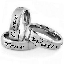 Stainless Steel TRUE LOVE WAITS Promise Purity Love All Sizes 5-13 Size 5 Ring