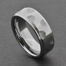 8mm Tungsten Carbide High Polish Step Edges Men's Jewelry Wedding Band sz 9-12