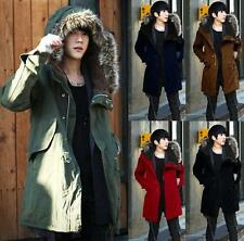 Mens Fur Collar Hooded Winter Thicken Trench Long Coat Jacket Parka outerwear