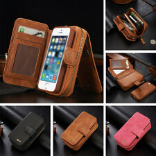 Magnetic Cover Case Pouch For iPhone 6/6S PU Leather Card Purse Zipper Wallet