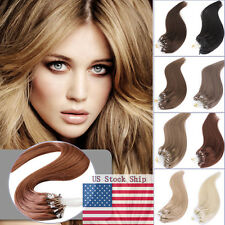 """18"""" 20"""" Micro Ring Easy Loop Beads Tip Indian Remy Human Hair Extensions US Ship"""
