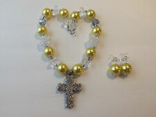 Yellow, Clear, and Silver Tone Chunky Bubblegum Bead Western Necklace Set Cross