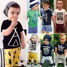 Kids Toddler Baby Boys Top T-shirt + Pants Trouser 2pcs Set Outfits Clothes 1-7Y