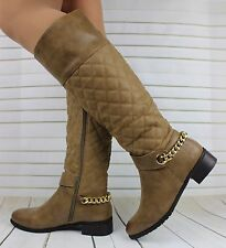 LADIES WOMENS KNEE HIGH LEATHER STYLE LOW HEEL QUILTED BOOTS SHOES SIZE 3-8