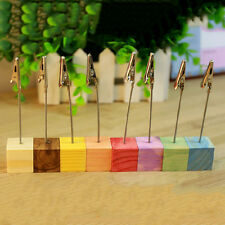 Wooden Memo Paper Note Picture Table Card Number Photo Clip Holder UKSK