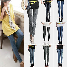 Womens Ladies Leggings Skinny Stretchy Jeans Denim Look Pants Jeggings Trousers