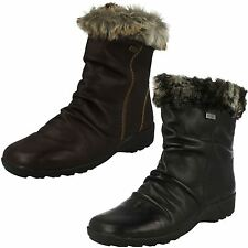 Ladies Remonte Water-Resistant Leather Wool Lined Ankle Boots D0593 Style ~ K