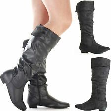 LADIES WOMENS BLACK FLAT LOW HEEL SLOUCH CALF KNEE HIGH STYLE BOOTS ZIP SIZE 3-8