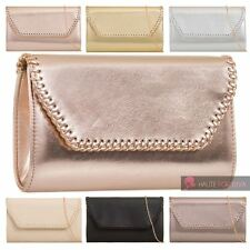 NEW FAUX LEATHER CHAIN STRAP TRIMMED FRONT LADIES EVENING CLUTCH BAG PURSE