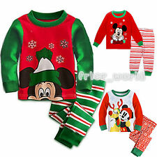 Kids Boys Girls 2Pcs Christmas Set Cartoon Mickey T-shirt Pants Nightwear Outfit