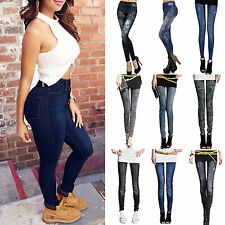 Sexy Womens Leggings Jeans Denim Look Jeggings Stretchy Skinny Pants Full Length