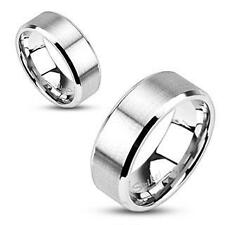 NEW Stainless Steel Brushed Flat Band 8MM All Sizes Available Size 14 Ring