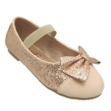 Gold. Sequence. Patent Leather. Bow Slip On Strap Flat Formal Dressy Girls Shoes