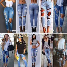 Women Ladies Destroyed Ripped Distressed Slim Denim Pants Casual Jeans Trousers