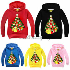 Kids Boys Girls Christmas Xmas Tree Pikachu Print Hoodies Sweatshirt Top Outwear