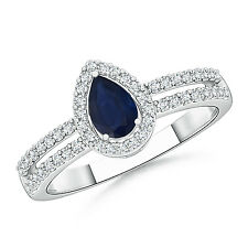 Solitaire Pear Natural Blue Sapphire Diamond Halo Engagement Ring 14k White Gold