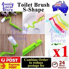 Toilet Brush S Shape Family Sanitary Cleaning Scrubber Curved Bent Handle