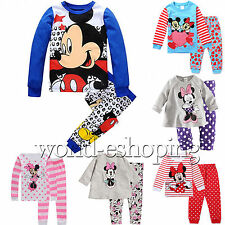 0-8Y Baby Kids Boys Girls Minnie Mickey Outfits Set Sleepwear Nightwear Pajamas