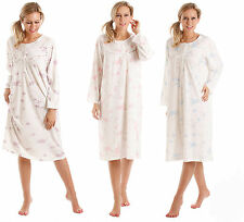 Ladies Floral Nightie Nightdress Long Sleeved Blue Lilac Pink Large Plus Sizes